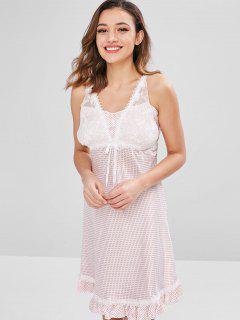 Robe Pyjama Panneau En Dentelle à Volants à Pois - Rose