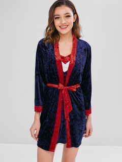 Vestido De Dormir De Terciopelo Color Block Con Bata - Azul Oscuro De Denim L