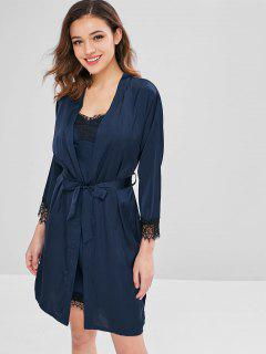 Belted Lace Trim Pyjama Kleid Und Robe Set - Denim Dunkelblau L