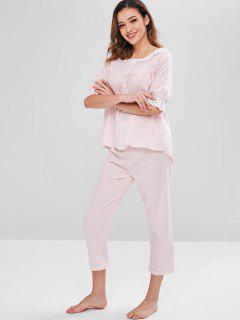 Ensemble De Pyjama En Crochet Insérée Avec œillet - Rose Cochon Xl