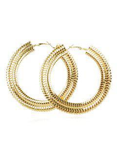 Minimalist Design Metal Hoop Earrings - Gold