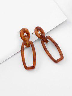 Geometric Hollow Out Decoration Earrings - Brown
