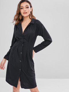 Pleated Waist Long Sleeve Shirt Dress - Black M