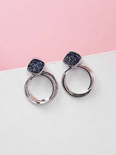 Layered Hoops Shape Artificial Crystal Earrings - Deep Blue
