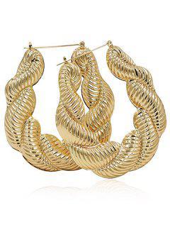 Alloy Punk Twist Hoop Earrings - Gold