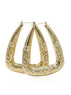 Geometric Design Metal Hoop Earrings - Gold