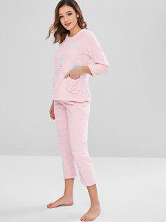 Ensemble De Pyjama Cœur En Flanelle - Rose  L