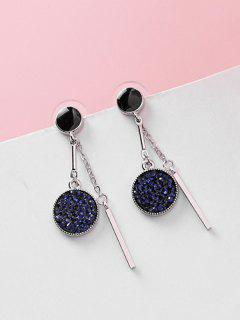 Double Circle Pattern Artificial Crystal Pendant Earrings - Deep Blue