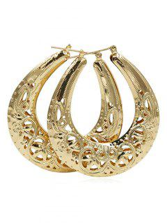 Flower Print Hollow Out Metal Earrings - Gold