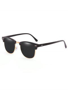 Metal Semi-Rimless Frame Sunglasses - Black