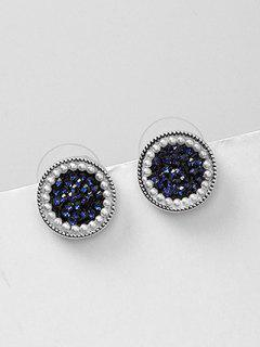Artificial Crystal And Pearl Design Circle Earrings - Deep Blue