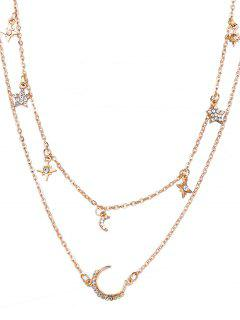 Layered Star And Moon Printed Pendant Necklace - Gold