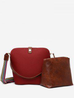 2Pcs Magnet Hook PU Leather Crossbody Bag - Red Wine