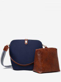 2Pcs Magnet Hook PU Leather Crossbody Bag - Deep Blue