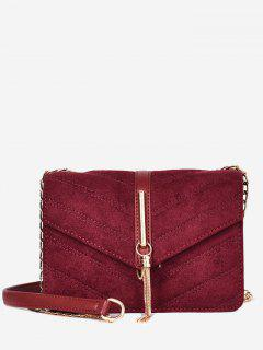 Tassel Design Fluffy Cover Crossbody Bag - Red Wine