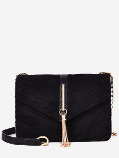 Tassel Design Fluffy Cover Crossbody Bag - Black
