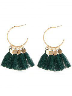 Statement Ethnic Style Tassel Design Earrings - Medium Forest Green