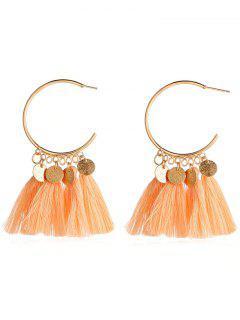Statement Ethnic Style Tassel Design Earrings - Papaya Orange