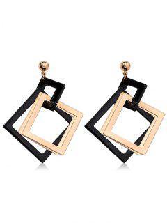 Geometric Rhombus Design Hollow Out Earrings - Black