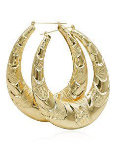 Metal Water Drop Pattern Hoop Earrings - Gold