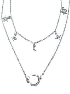 Layered Star And Moon Printed Pendant Necklace - Argent