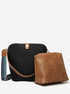 2Pcs Magnet Hook PU Leather Crossbody Bag - Black