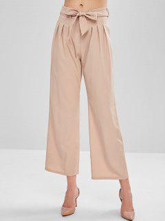 Belted Wide Leg Pants With Pockets - Pink M