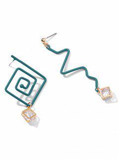 Asymmetry Artificial Crystal Design Earrings - Blue Hosta