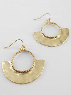 Metal Fanshaped Hollow Design Earrings - Gold