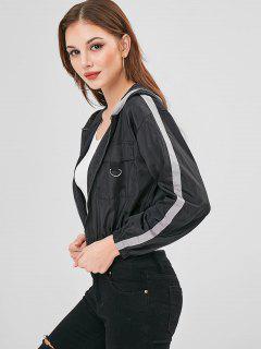 Side Tape Zip Up Lightweight Jacket - Black S