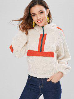 ZAFUL Half Zip Striped Fluffy Hoodie - Beige S