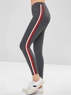 Stripe Trim Thick Leggings - Dark Gray