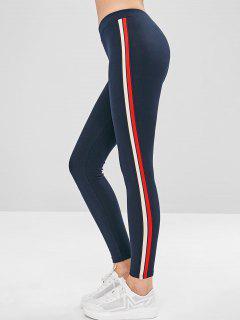 Stripe Trim Thick Leggings - Cadetblue