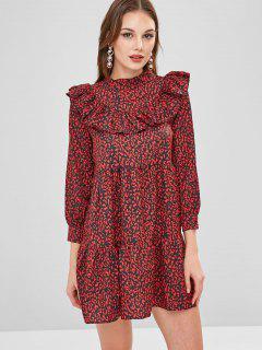 Printed Flounce Flare Dress - Multi L