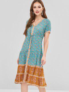 Vestido De Cintura Con Cordón Estampado Floral - Multicolor L