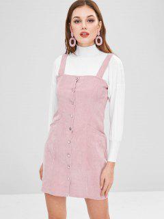 Button Through Corduroy Pinafore Mini Dress - Pink L