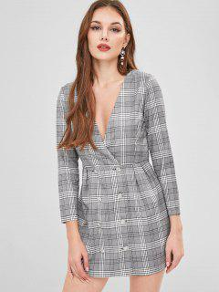 Double Breasted Plaid Blazer Dress - Multi S