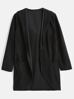 High Low Hem Hooded Cardigan Coat - Black L