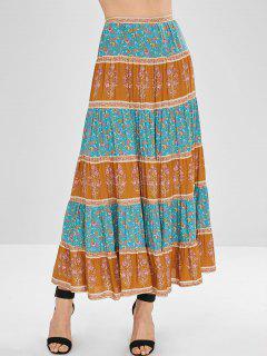 Floral Print Splicing Flare Skirt - Multi M