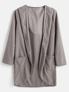 Manteau Cardigan à Capuche à Ourlet Haut Bas - Gris L