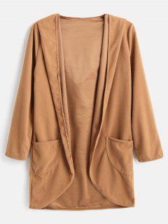 High Low Hem Hooded Cardigan Coat - Light Brown L