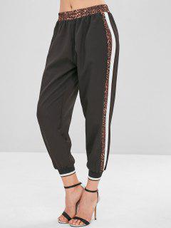 Leopard Striped Jogger Pants - Black S