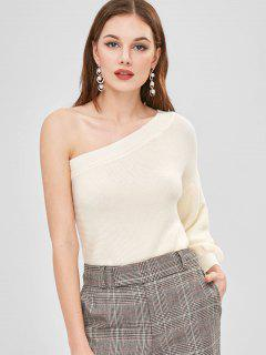 Asymmetrical One Sleeve One Shoulder Sweater - Beige S