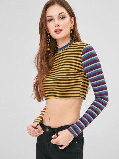 Colorful Striped Crop Top - Multi M