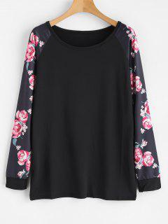 Long Floral Print Raglan Sleeve Tee - Black M