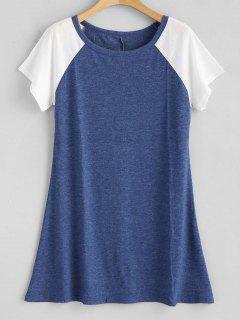 Camiseta De Mangas Raglán En Contraste - Azul S