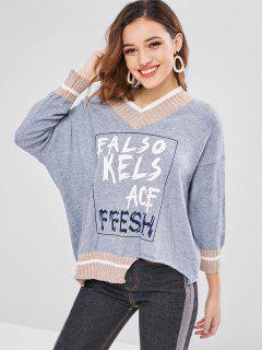 Printed Striped V Neck Preppy Oversized Sweater - Blue Gray