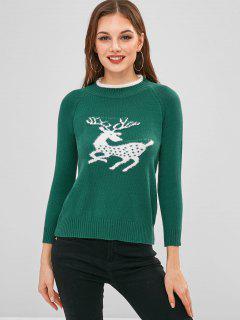 Pull Cerf De Noël à Manches Raglan - Vert Profond