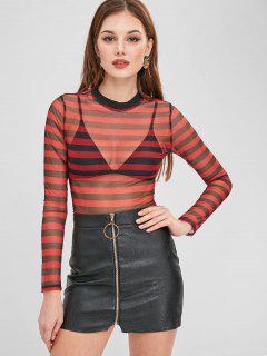 Striped Crop Sheer Tee - Red M