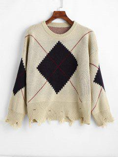 Distressed Argyle Oversized Jacquard Knit Sweater - Camel Brown